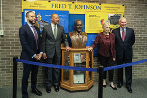 Fred Johnson bust unveiling